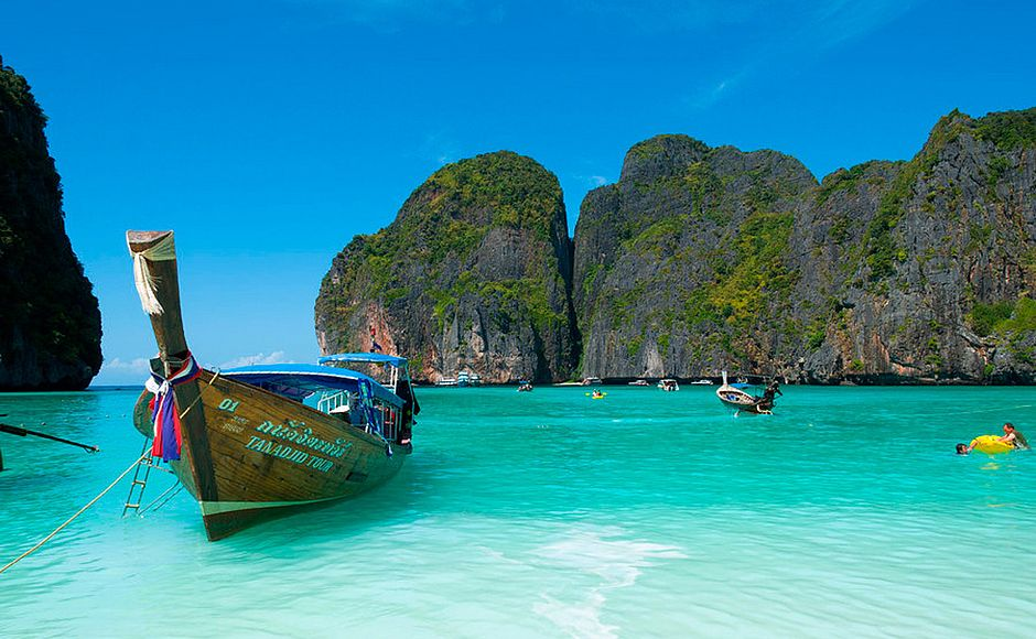 Tailândia proíbe barcos na praia de Maya Bay para proteger corais (Foto: Lutz/Flickr-Creative Commons)