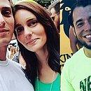 João Napoli e Caroline Martinho, casal atacado, e Marcelo Henrique Reis, personal também morto no ataque