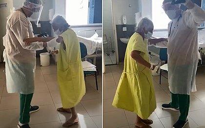 Após ser internada com falta de ar, idosa melhora e dança forró com fisioterapeuta