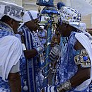 O Afoxé Filhos de Gandhy fez seu tradicional ritural no Pelourinho antes de seguir para a Avenida