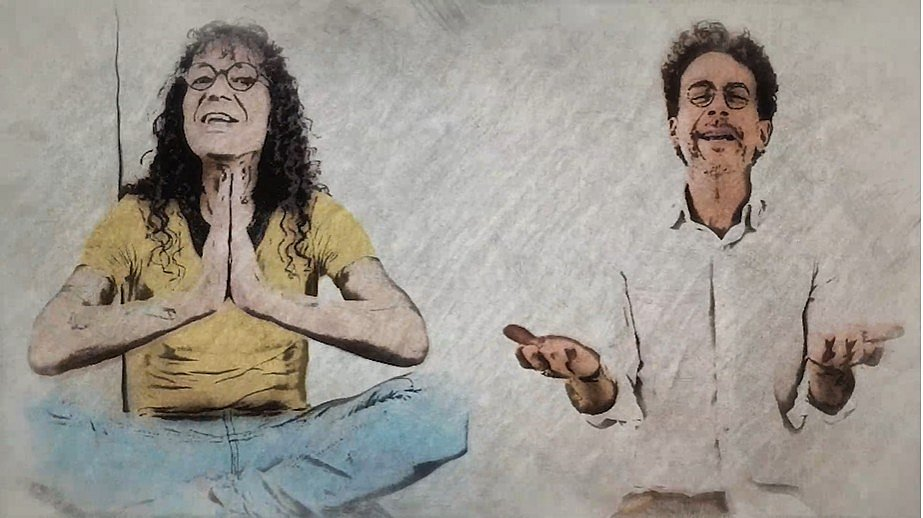 Luiz Caldas e Nando Reis em imagem do clipe de Meditar