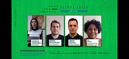 Camila Marinho moderou debate entre Diego Figueredo, Julio Begali e Sil Bahia