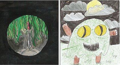 Desenhos de Luiz Guilherme e Rosa Flor, dois dos 34 ilustradores infantis de O Ickabog
