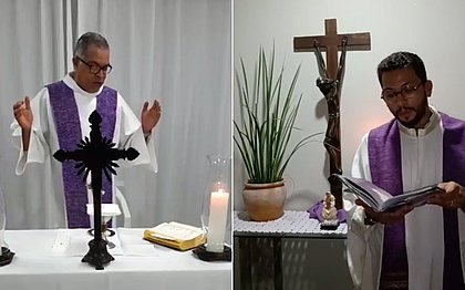 Padres Valter (à esquerda) e Jonathan transmitirão Domingo de Ramos ao vivo