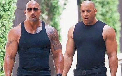 Os atores Dwayne Johnson e Vin Diesel