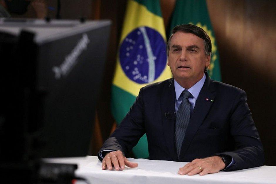 Presidente Jair Bolsonaro gravando um discurso para a 75ª Assembleia Geral do Conselho das Nações Unidas em Brasília, em 16 de setembro de 2020