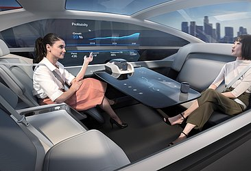 A leitura da Volvo de um carro autônomo do futuro, onde não há necessidade de motorista