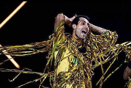 Gustavo durante comemoração do ouro conquistado no Rio 2016