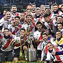 Jogadores do River comemoram o título da Libertadores