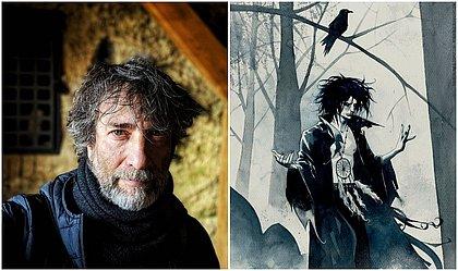 O escritor inglês Neil Gaiman e sua criação mais famosa, o Sandman