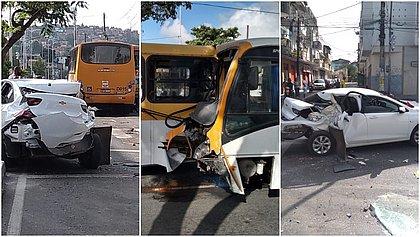 Cinco pessoas ficam feridas em acidente com três carros, ônibus e micro-ônibus em Periperi
