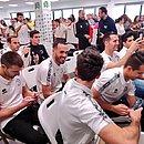 Jogadores do Unionistas de Salamanca durante o sorteio