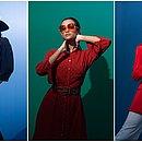 Blusas com mangas bufantes, vestidos chemise larguinhos e pantalonas inspirado no estilo de Halston