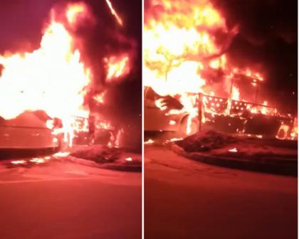 Ônibus pega fogo na Avenida Paralela, em Salvador