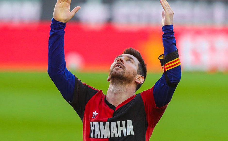 Messi com camisa do Newell's Old Boys