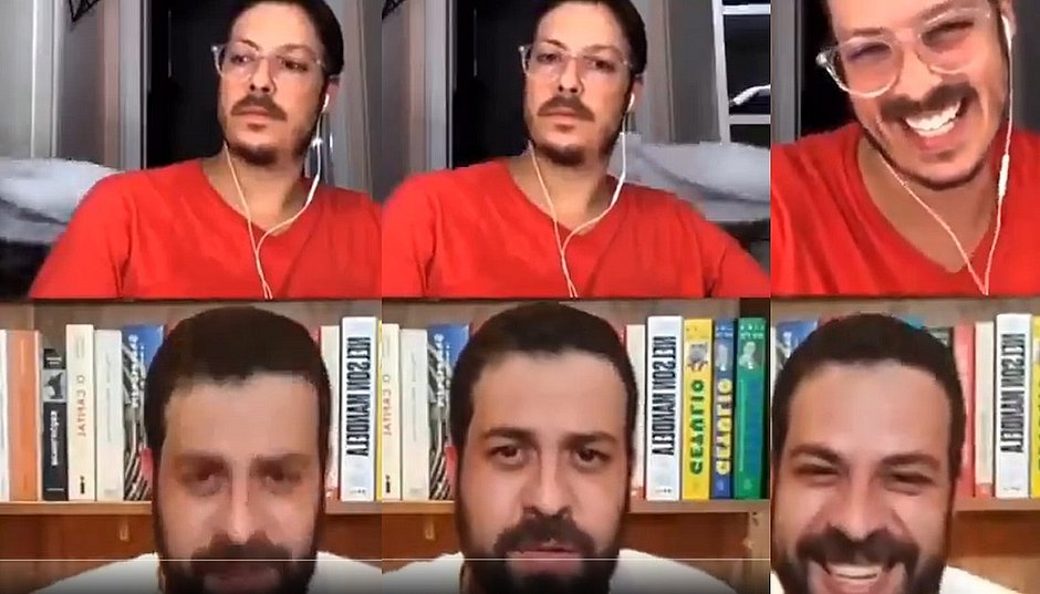 Esposa de Fábio Porchat aparece pelada em live do humorista com Guilherme Boulos