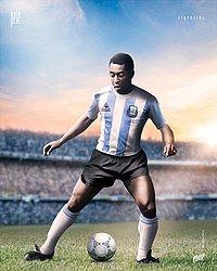 Pelé com a camisa da Argentina