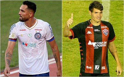 Gilberto e Vico vestem os uniformes estampados pela Casa de Apostas, patrocinadora master dos dois clubes