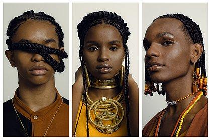 Rafael Araújo, Malu Andrade e Ednei William com tranças feitas por Grazi Teles no Afro Fashion Day