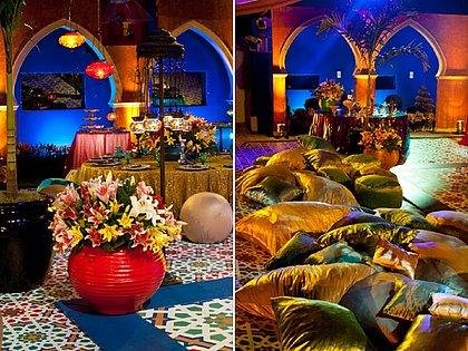 Em 2012, tecidos coloridos transformam o jardim da casa em uma grande tenda árabe