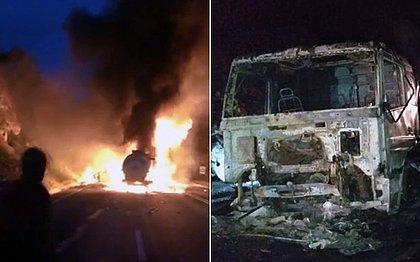 Carreta com ácido sulfúrico é atingida por caminhão e três veículos pegam fogo na BA