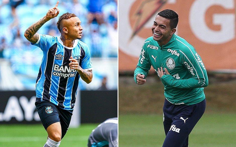 Atacante Everton Cebolinha é o principal jogador do Grêmio em 2019; Dudu, do Palmeiras, fez um gol no último sábado e quer repetir a dose
