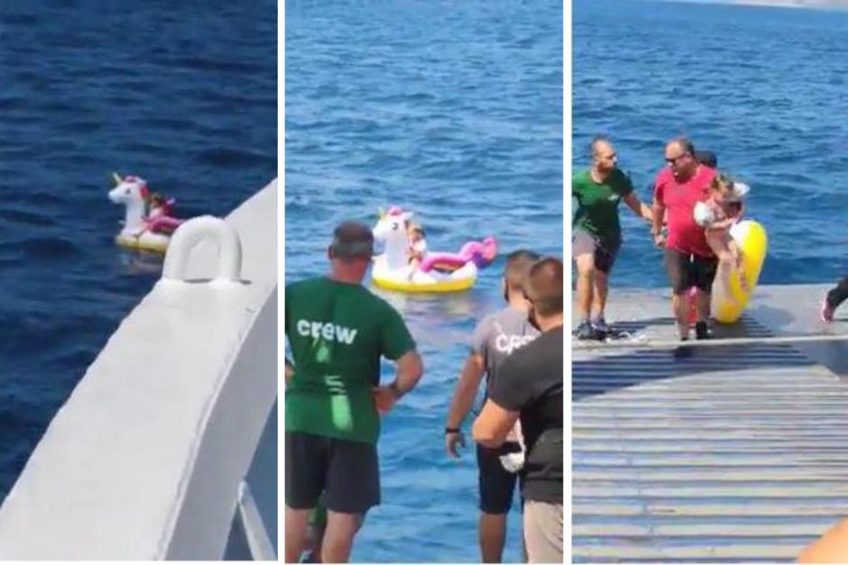 Criança que ficou à deriva em boia de unicórnio é salva a 500m da costa da Grécia