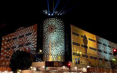 Fachada do Museu da Academia Motion Pictures Arts and Sciences em Los Angeles totalmente restaurada. O prédio é de 1939.