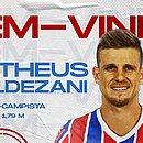 Matheus Galdezani é o terceiro volante anunciado pelo Bahia para a temporada 2021