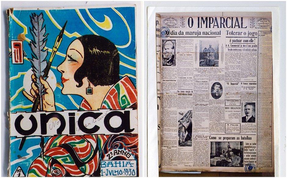 Ilustração de Raul Pederneiras na revista Única; O Imparcial, dos anos 1930, revelou-se integralista
