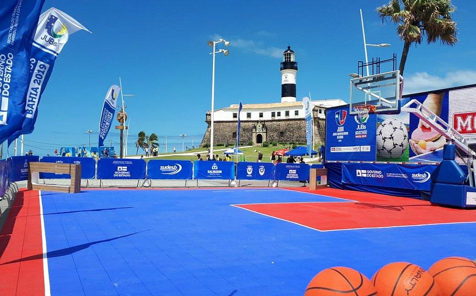 Ação para a prática de basquete 3×3 foi realizada no Farol da Barra, em setembro, durante tour promocional do JUBs