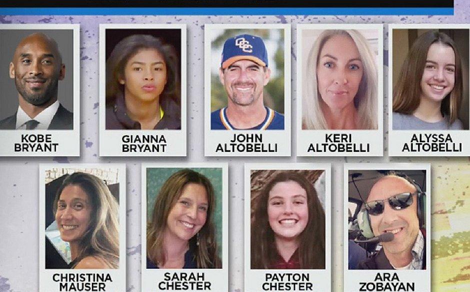 Identificadas todas as vítimas do acidente que matou Kobe Bryant