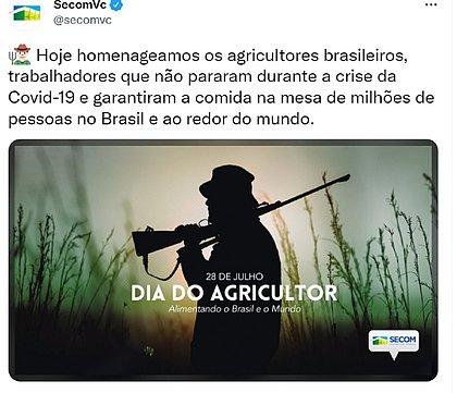 Governo Bolsonaro homenageia Dia do Agricultor com foto de homem armado
