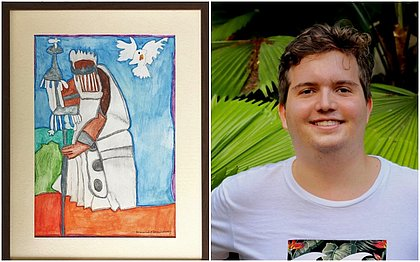 Oxalá pintado por Bernardo Tochilovsky, que tem 20 anos é portador de autismo (fotos divulgação)