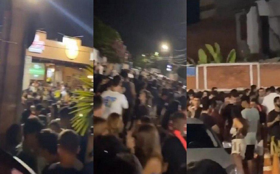 Pessoas sem máscaras se aglomeram em frente a bares do Itaigara