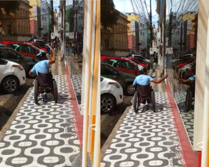 Homem usa martelo para quebrar fachada da Câmara de Vereadores de Ilhéus