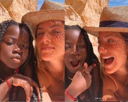 Giovanna Ewbank e Titi curtem praia do Algarve, em Portugal