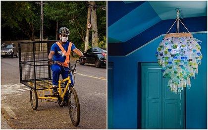 Catadores usam triciclo para recolher o material na casa dos clientes. Casa MAR usa garrafas PET na decoração