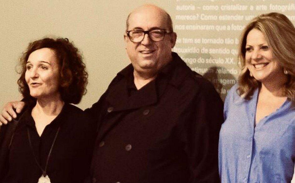 Eidi Feldon e Andrea Fuamenghi com o curador Silvio Pinhatti