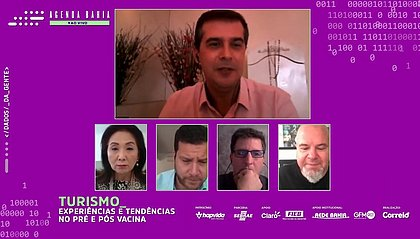 O jornalista Fernando Sodake, no alto, foi o mediador do papo virtual com Cheiko Aiko, Damien Timperio, Fernando Botelho e Ricardo Freire