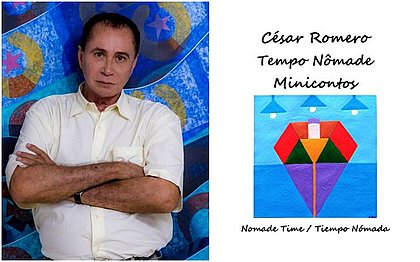César Romero e a capa de um dos livros que está lançando
