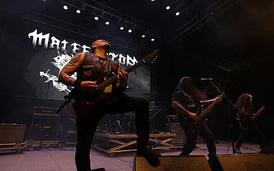 A banda baiana Malefactor foi a segunda atração a se apresentar no Rock Concha