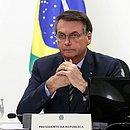 Jair Bolsonaro em teleconferência com governadores do Sudeste