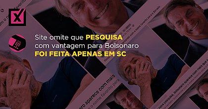 Site omite que pesquisa com vantagem para Bolsonaro foi feita apenas em SC