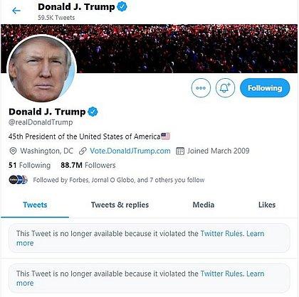 Twitter remove postagens e conta de Trump é bloqueada por 12 horas