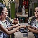Errlaine com a filha Queteli: preferência por ensino remoto apesar das dificuldades observadas