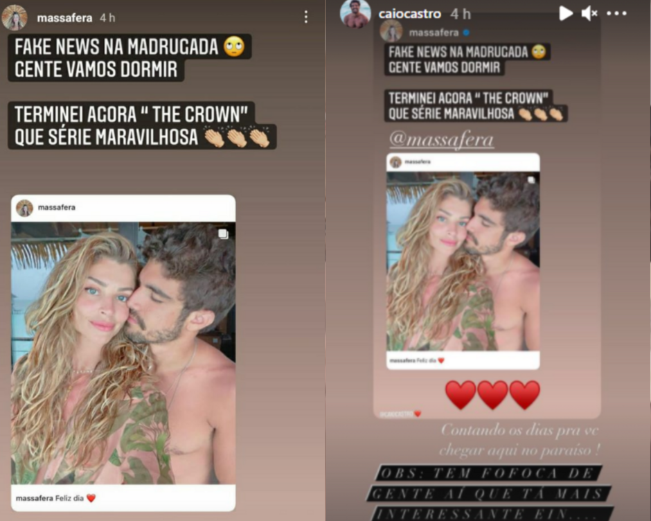 "Grazi Massafera e Caio Castro negam fim de namoro: ""fake news da madrugada"""