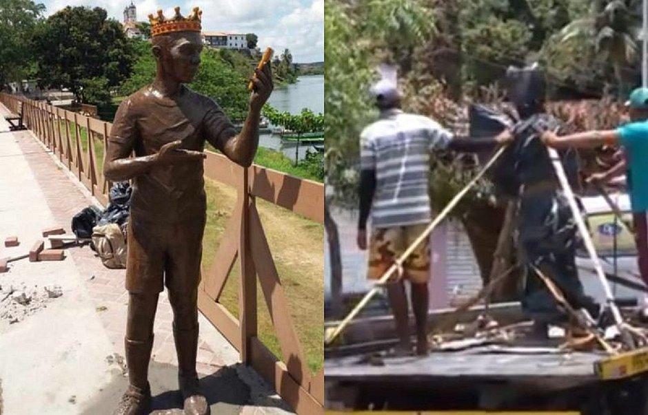 Povo impede instalação de estátua de Carlinhos Maia em cidade alagoana