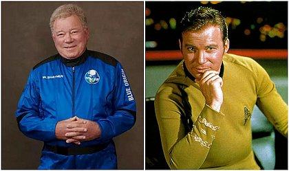 O ator William Shater com os uniformes da Blue Origin e da Enterprise