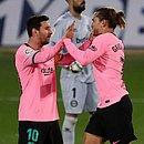 Messi e Griezmann são companheiros no Barcelona